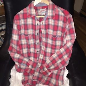 Gap flannel shirt red white mens large